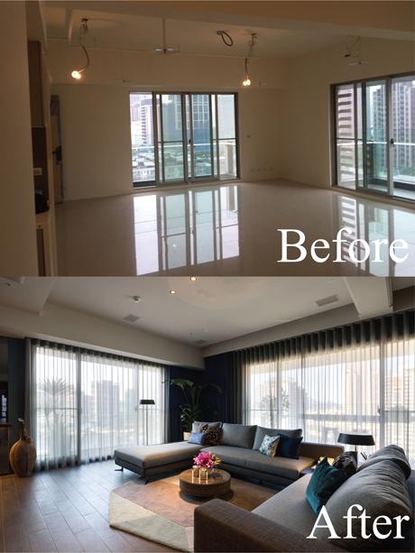 L型雙陽台、雙面採光,裝設電動窗簾,方便屋主控制光線的進量。